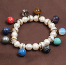 Oval Shape White Crystallized Agate Drawstring Bracelet with Golden Color Metal Beads