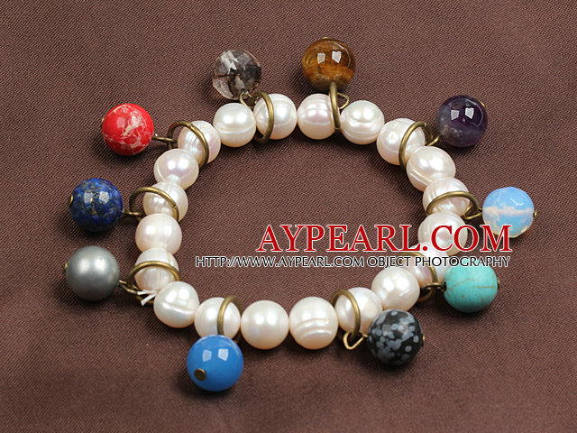 Summer Beach Jewelry 9-10Mm Natural White Pearl Elastic/ Stretch Bracelet With Multi-Gemstone Beaded Charms