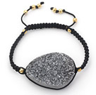 Wholesale Oval Shape Gray Black Crystallized Agate Drawstring Bracelet with Golden Color Metal Beads