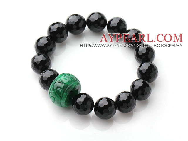 Single Strand A Grade Faceted Black Agate And Drum Shape Green Jade Elastic Bracelet