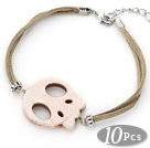 Wholesale 10 Pieces White Howlite Skull Bracelet with Gray Soft Leather and Extendable Chain