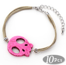 10 Pieces Dyed Hot Pink Turquoise Skull Bracelet with Gray Soft Leather and Extendable Chain