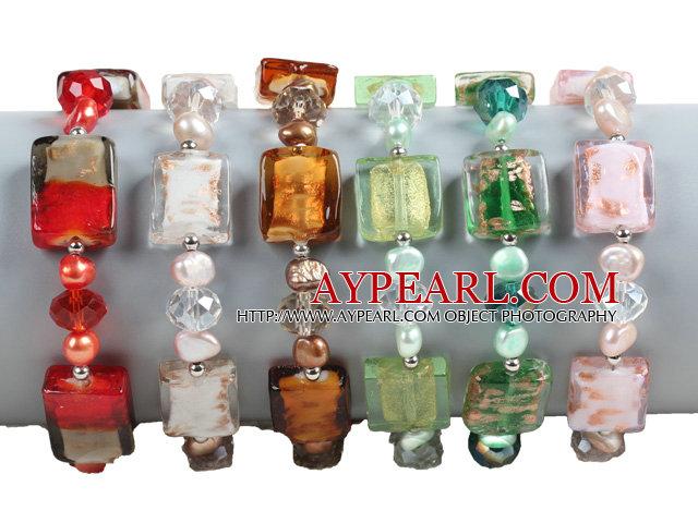 6 PCS Beautiful Multi Color Natural Pearl Cube Colored Glaze Bead Bracelet (Random Color)