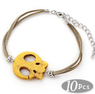10 Pieces Dyed Yellow Turquoise Skull Bracelet with Gray Soft Leather and Extendable Chain