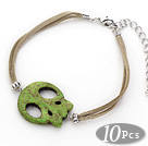 Wholesale 10 Pieces Dyed Green Turquoise Skull Bracelet with Gray Soft Leather and Extendable Chain
