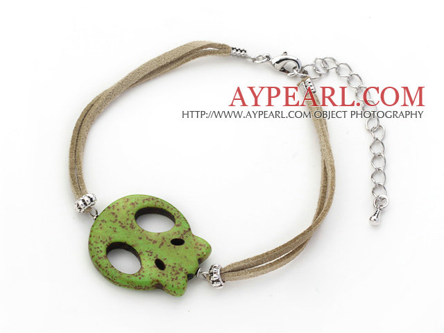 10 Pieces Dyed Green Turquoise Skull Bracelet with Gray Soft Leather and Extendable Chain