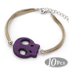 10 Pieces Dyed Dark Purple Turquoise Skull Bracelet with Gray Soft Leather and Extendable Chain