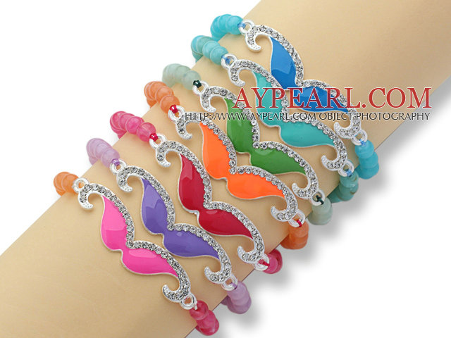 7 Pieces Acrylic Elastic Bangle Bracelet with Moustache Rhinestone Acccessories ( Random Color)