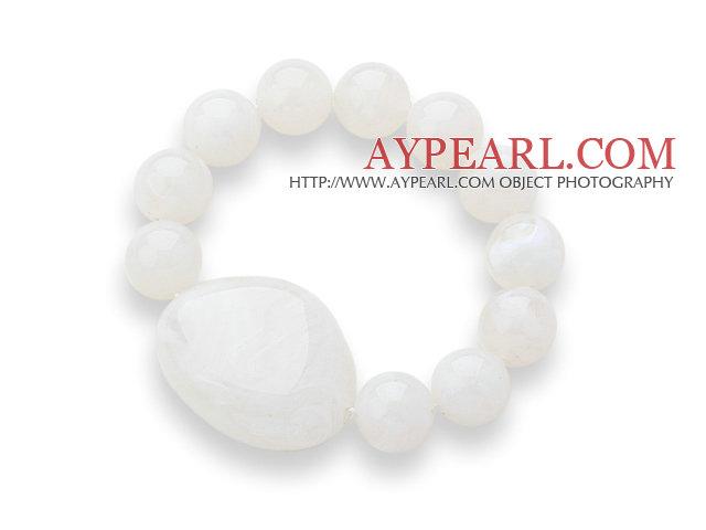 3 Pieces White Round Acrylic Beaded Stretch Bangle Bracelets
