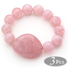 3 Pieces Pink Round Acrylic Beaded Stretch Bangle Bracelets