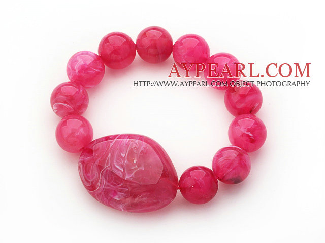 3 Pieces Hot Pink Round Acrylic Beaded Stretch Bangle Bracelets