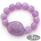3 Pieces Light Purple Color Round Acrylic Beaded Stretch Bangle Bracelets