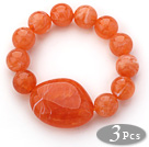 3 Pieces Orange Color Round Acrylic Beaded Stretch Bangle Bracelets