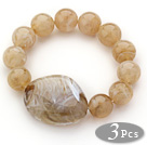 3 Pieces Light Coffee Color Round Acrylic Beaded Stretch Bangle Bracelets