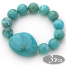 3 Pieces Lake Blue Color Round Acrylic Beaded Stretch Bangle Bracelets