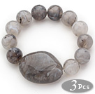 3 Pieces Gray Round Acrylic Beaded Stretch Bangle Bracelets