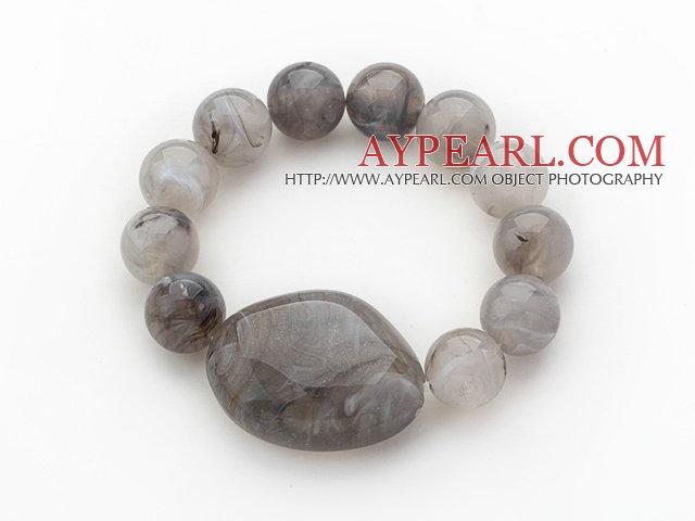 3 Pieces Gray Round Acrylic Beaded Stretch Bangle Bracelets