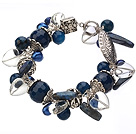 Vintage Style Heart Shape Clear Crystal Blue Agate Pearl Tibet Silver Accessory Bracelet With Toggle Clasp