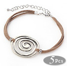 5 Pieces Round Shape Metal Adjustable Leather Bracelets with Brown Thread