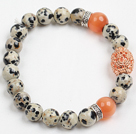 Retro Color Spots Stone And Cats Eye Stone Beaded Stretch / Elastic Bracelet