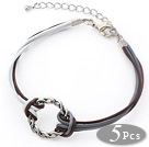 5 Pieces Round Shape Metal Ring Adjustable Leather Bracelets with White and Brown Leather