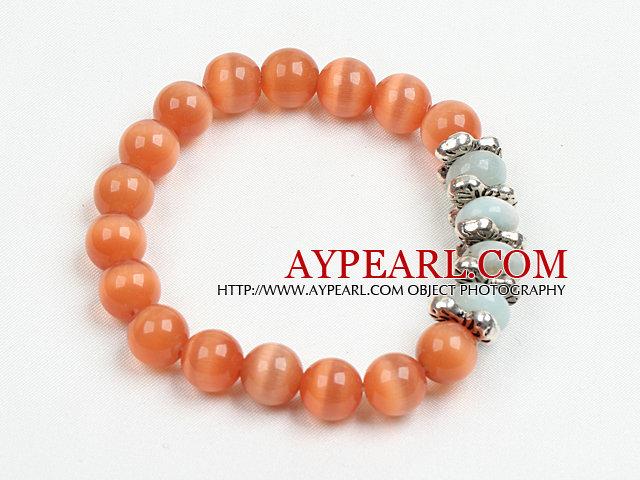 Summer Beach Jewelry Orange Cats Eye Stone And Amazon Stone Beaded Elastic/ Stretch Bracelet