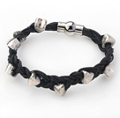 Black Leather Woven Bracelets with Heart Shape Metal Accessories