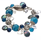 Vintage Style Blue Agate Button Pearl And Irregular Clear Crystal Tibet Silver Accessory Bracelet With Toggle Clasp