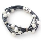 Dark Gray Leather Bracelet with Round Shape Silver Color Frosted Metal Beads