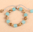 2013 Summer New Design Lake Blue Leather Bracelet with Heart Shape White and Blue Rhinestone