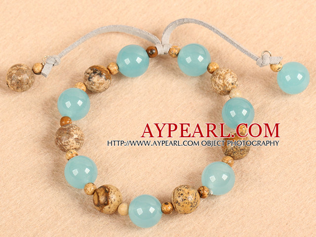 Simple Fashion Round Picture Jasper And Blue Jade Elastic Bracelet With Gray Leather Tassel