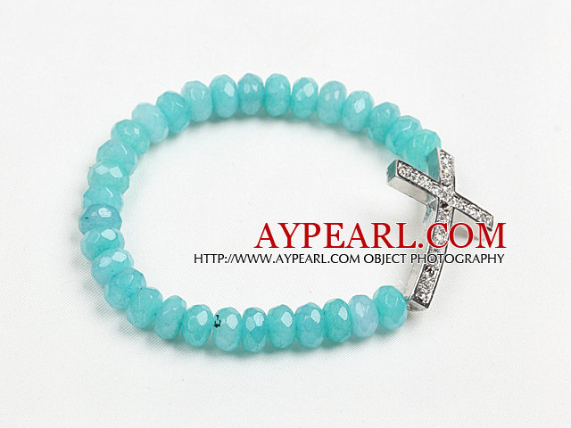Summer Beach Jewelry Blue Jade Beaded Elastic/ Stretch Bracelet With Cross Charm