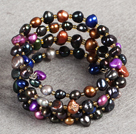 prevailing Multi Color Natural Freshwater Pearl 3 Strand Bangle Bracelet