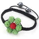 2013 Summer New Design Apple Green and Red Rhinestone Flower Adjustable Drawstring Bracelet