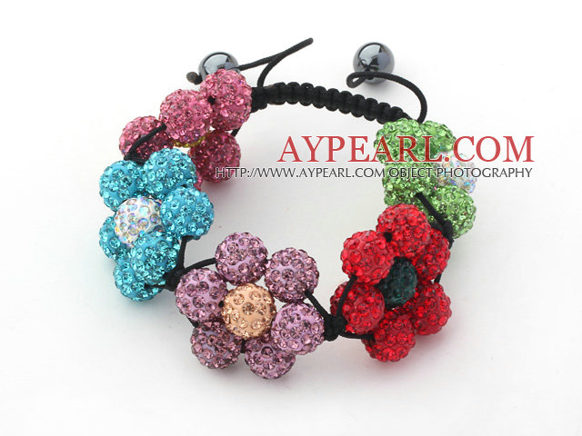 2013 Summer New Design Multi Color Rhinestone Flower Adjustable Drawstring Bracelet