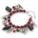Assorted Red Coral and Multi Shape Black Agate Charm Bracelets with Extendable Chain