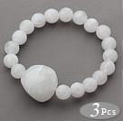3 Pieces White Acrylic Stretch Bangle Bracelet (Total 3 Pieces)