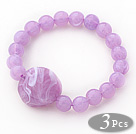 3 Pieces Violet Color Acrylic Stretch Bangle Bracelet (Total 3 Pieces)