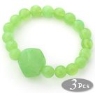 3 Pieces Apple Green Color Acrylic Stretch Bangle Bracelet (Total 3 Pieces)