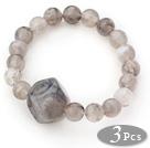 3 Pieces Gray Color Acrylic Stretch Bangle Bracelet (Total 3 Pieces)