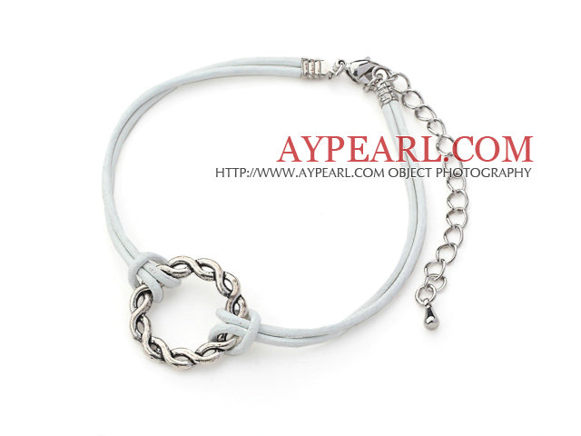 5 Pieces Round Shape Metal Ring Adjustable Leather Bracelets with White Leather