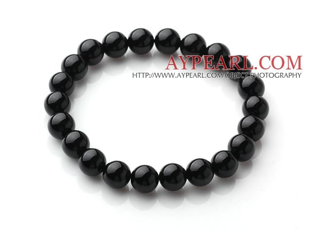 Classic Design Single Strand A Grade 8mm Round Black Agate Beads Elastic Braceelt
