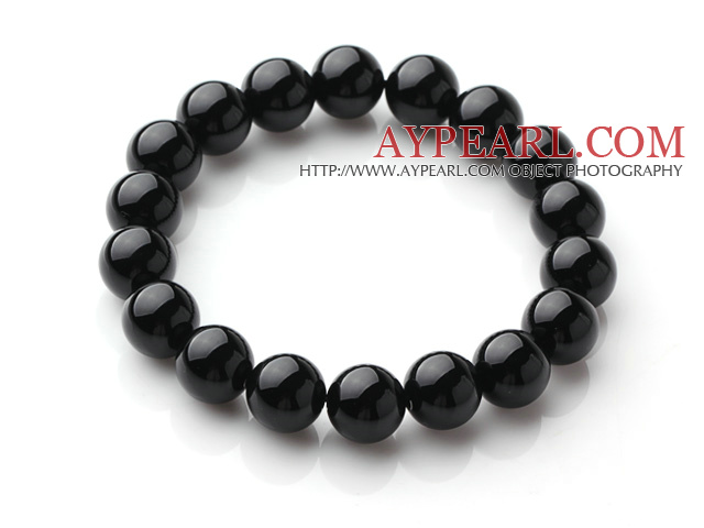 Classic Design Single Strand A Grade 10mm Round Black Agate Beads Elastic Braceelt