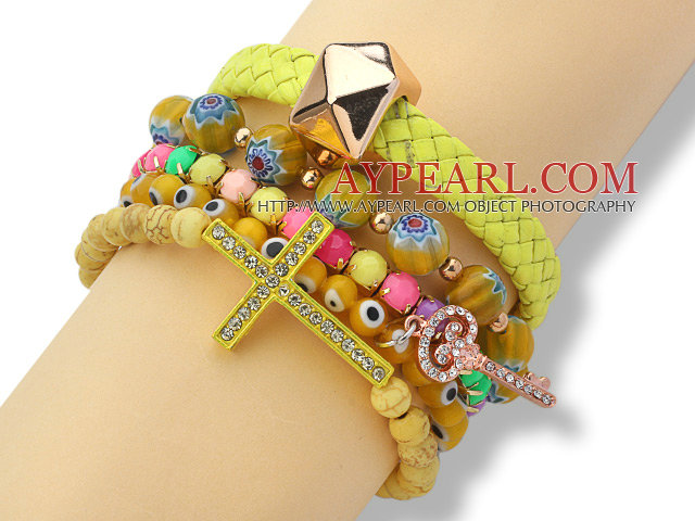 5 Pieces Yellow Series Assorted Fashion Turquoise and Acrylic and Colored Glaze and Leather Bracelets