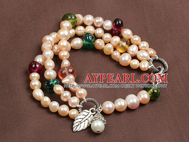 Fashion Three Strand Natural Pink Pearl And Multi Color Crystal Beads Bracelet