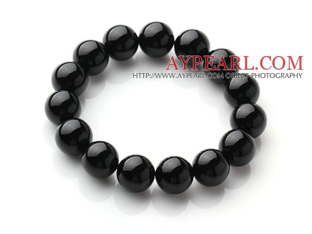 Classic Design Single Strand A Grade 12mm Round Black Agate Beads Elastic Braceelt