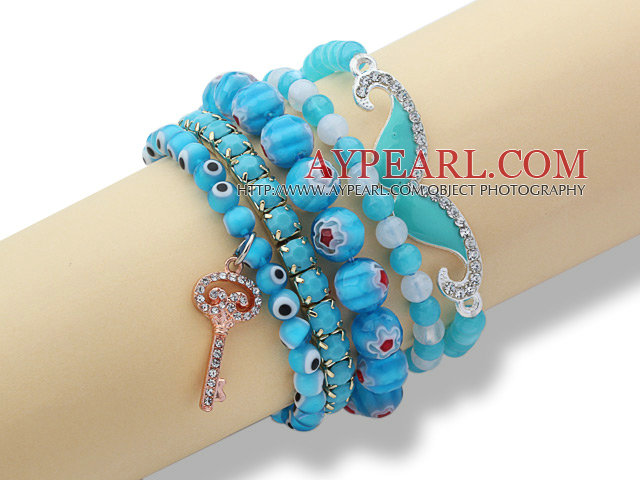 5 Pieces Lake Blue Series Assorted Turquoise and Acrylic and Colored Glaze Bracelets