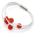 Orange Red Color Round 10mm Rhinestone Ball and White Leather Bracelet with Magnetic Clasp