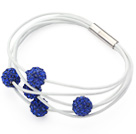 Sapphire Blue Round 10mm Rhinestone Ball and White Leather Bracelet with Magnetic Clasp
