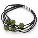 Olive Green Round 10mm Rhinestone Ball and Black Leather Bracelet with Magnetic Clasp